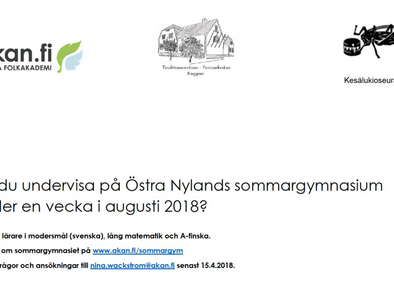 Sommargymnasiet i Östra Nyland söker lärare i A-finska, matematik och modersmål (svenska)