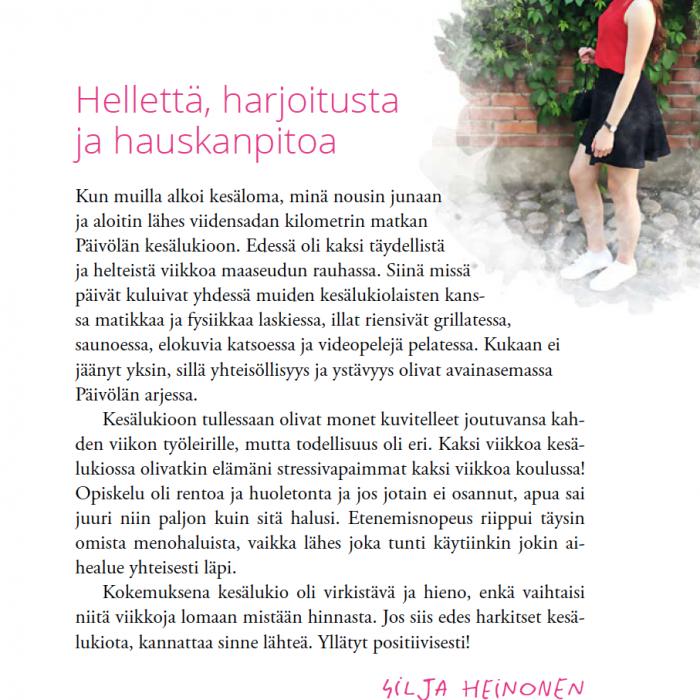 Pääkirjoitus 2020 - Silja Heinosen kokemuksia Päivölän kesälukiosta