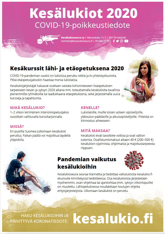 Kesälukiot 2020 COVID-19-poikkeustiedote