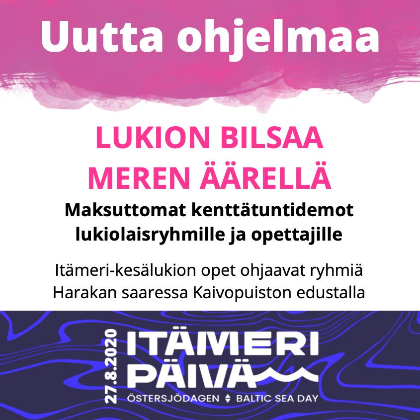 Uutta ohjelmaa: lukion bilsaa meren äärellä - maksuttomat kenttätuntidemot lukiolaisryhmille ja opettajille Itämeripäivänä 27.8.2020