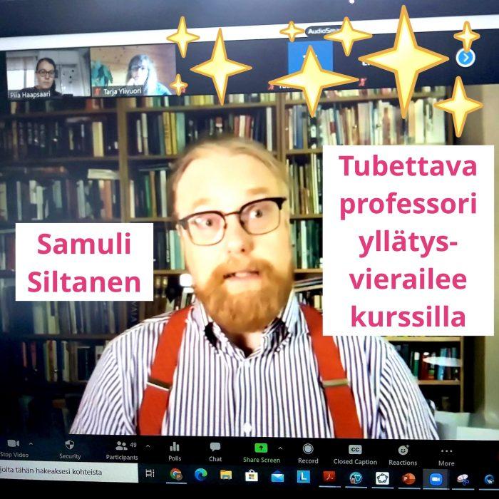 Tubettava professori Samuli Siltanen yllätysvierailee kurssille.