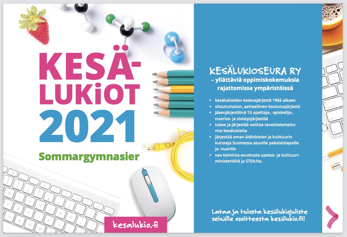 Kesälukiot 2021 -esitteen selaaminen Issuu-sivustolla