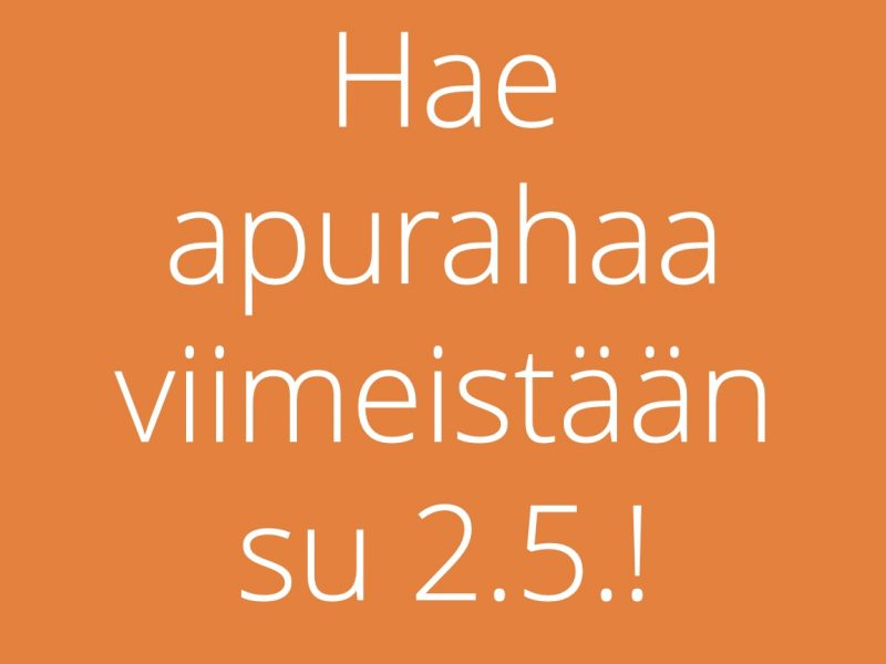 Apurahahaku kesälukioon päättyy 2.5. Hae pian!